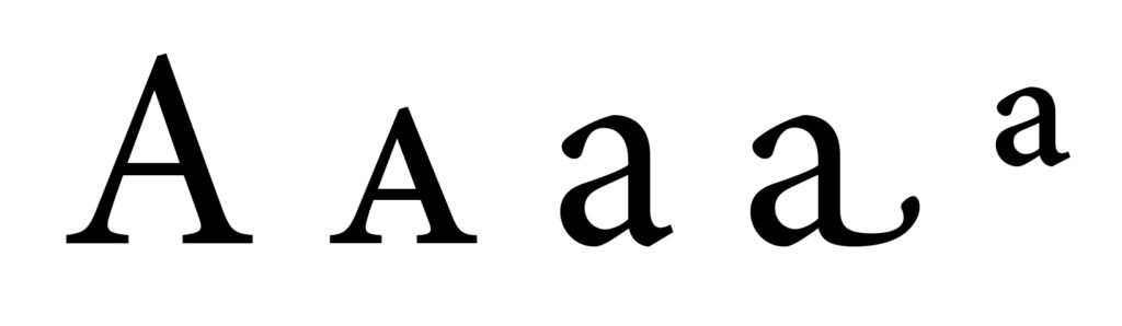 "The letter ""a"" is represented by these four glyphs: upper case, true small cap, lower case, lower case swash alternate, and superscript a."